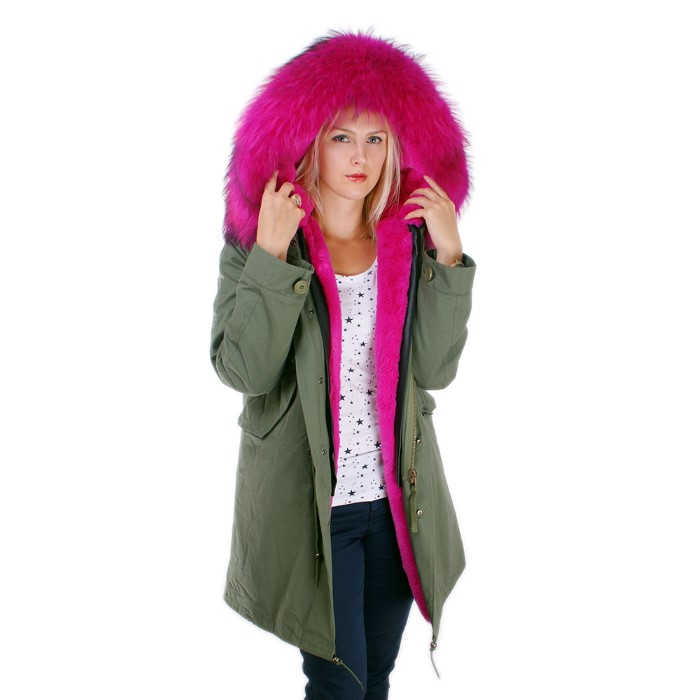 4ef2eb63ebd Details about Long Women's Parka With Pink Raccoon Fur Hood Trim! NEW  Jacket Coat Real Fur FOX