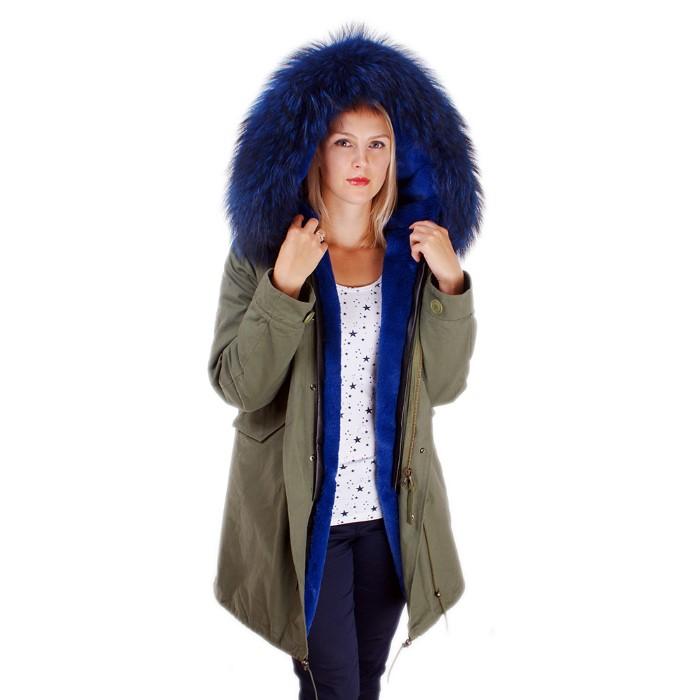 Details zu Damen Parka mit blau Fell für Kapuze! Army Jacke Pelz Kragen Winter Mantel NEU!