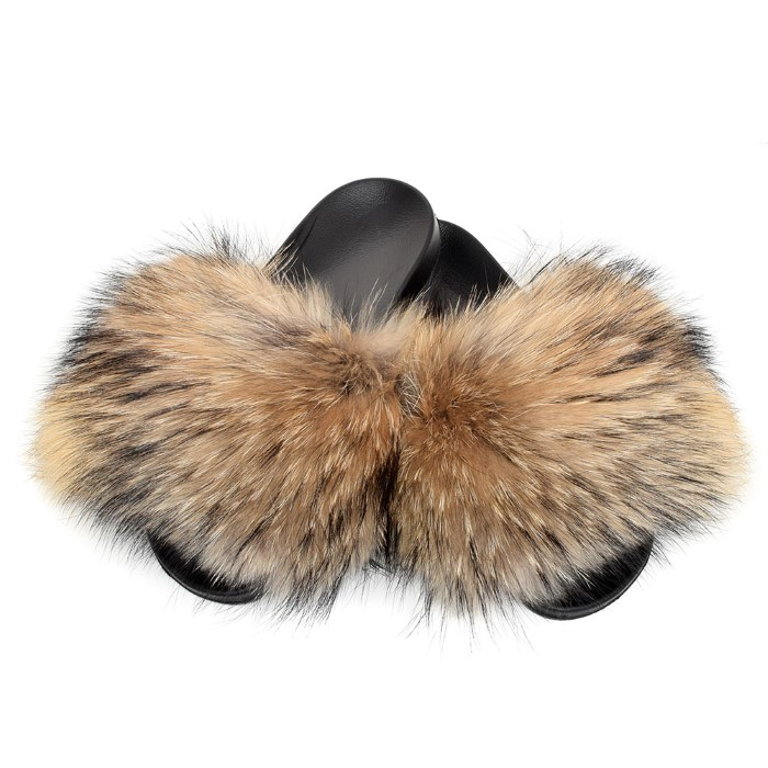 Genuine Raccoon Fur Slides Slippers With Natural Fur New