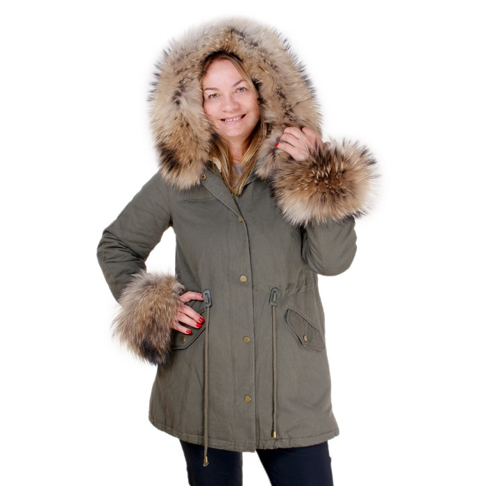 9eac5c954 Details about Long Parka With Cuffs & Hood of Raccoon Fur! Coat Jacket With Genuine  Fur Collar