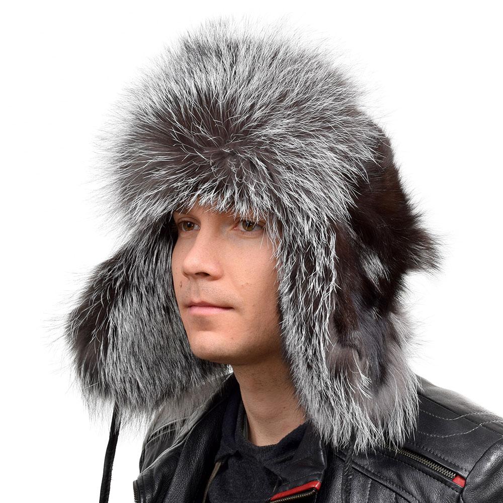 b621c969f Details about Genuine Silver Fox Fur Ushanka Hat IV Winter Men's Grey Cap  Real Fell Ski LEDER