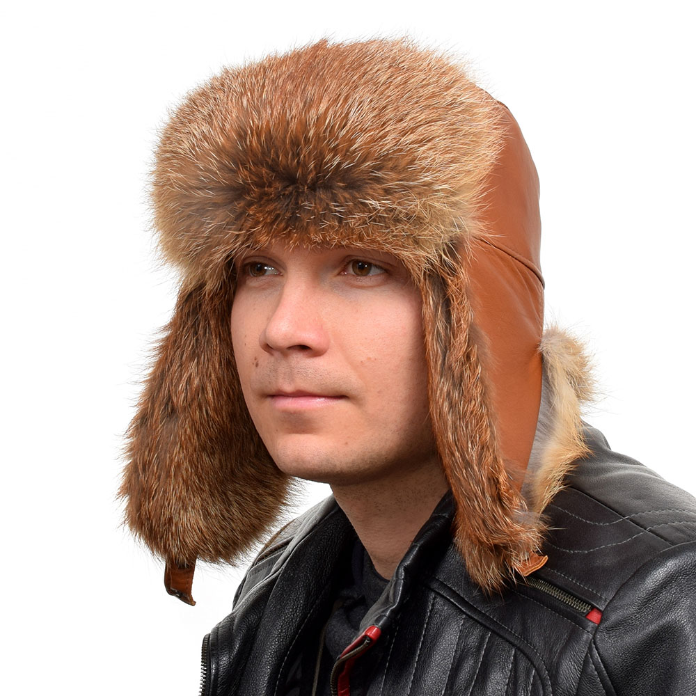 dda6068e5a4 Details about Genuine Men s Red Fox Fur Ushanka Hat I Natural Real Fur Warm Winter  Cap Ski FOX
