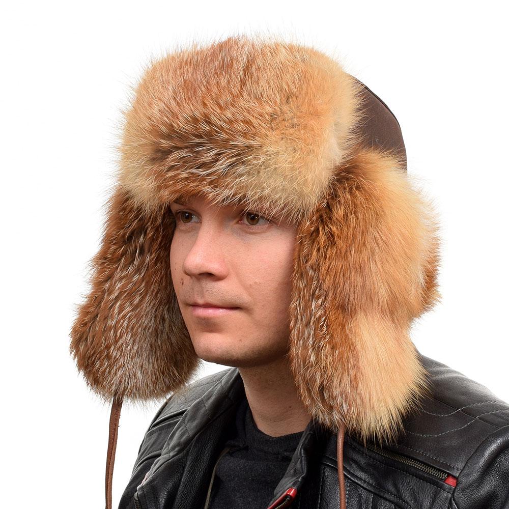 100/% GENUINE RED FOX Fur REAL LEATHER Unisex Trapper Ushanka Bomber Winter Hat 5