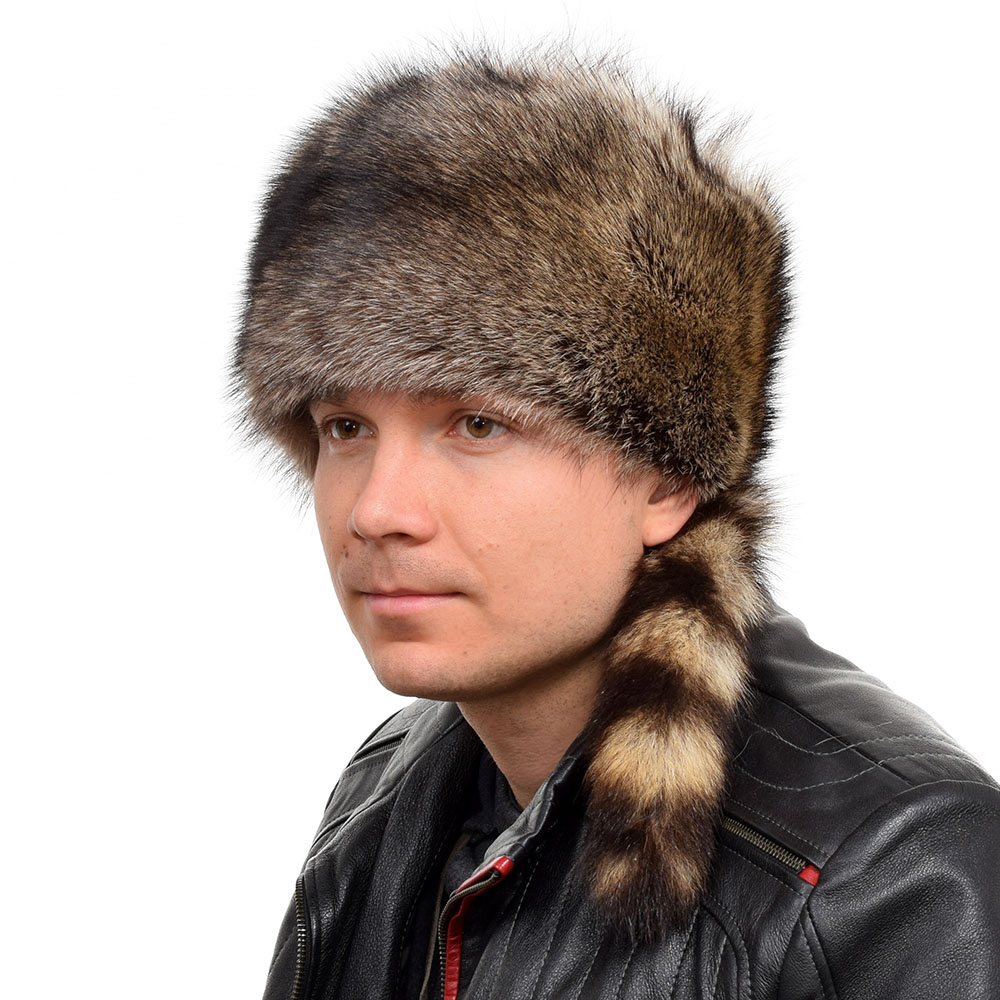38060649dc6 Details about Genuine Men s Raccoon Fur Trapper Hat With Tail NEW! Winter  Cap Ski Real Fur FOX